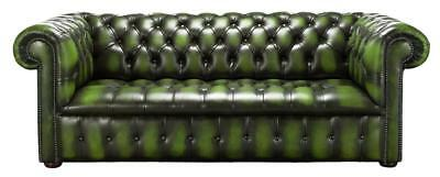 Chesterfield Edwardian 3 Seater Buttoned Seat Antique Green Leather Sofa