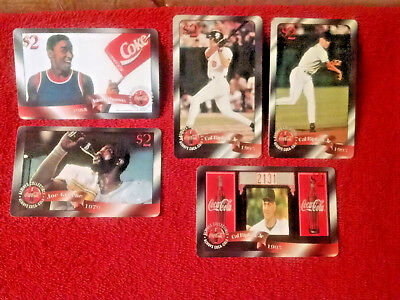 5 lot Coca-Cola Phone Cards-SPORTS Cal Ripken Jr-Scottie Pippen-Joe Greene-XLNT