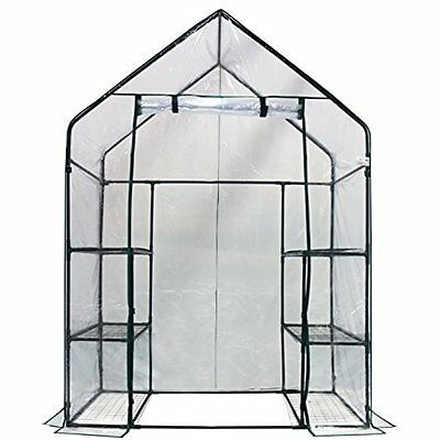 "Mini Walk-In Greenhouse 3 Tiers 6 Shelves, 56""W X 29""D 77""H"