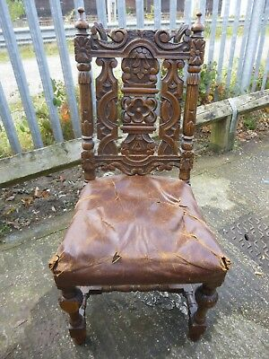 Antique Victorian Gothic Jacobean Solid Oak Carved Design Wooden Chair