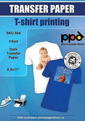 """PPD Inkjet Iron-On Dark T Shirt Transfers Paper LTR 8.5x11"""" pack of 10 Sheets"""