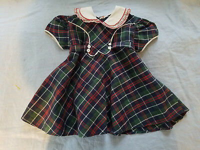 vintage girls plaid dress hand made very nice condition bias tape piping collar