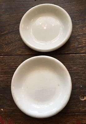 Antique White Ironstone Butter Pats~ Set of 2 Farmhouse style
