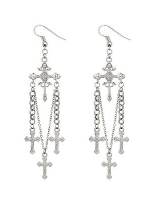 Pair of long antique silver chains & diamante earrings cross charms Gothic Boho