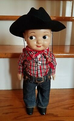 Buddy Lee Union Made Doll, Original - Black Cowboy Hat, Red Flannel, Jeans