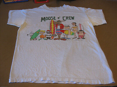 Vintage Rocky & Bullwinkle Moose n Crew Front and Back Images T-Shirt Large 1987