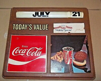 Vintage Coca-Cola Advertising Sign W/scroll Date And Burger 19 X 17