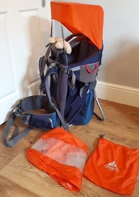 vaude baby carrier with sun canopy and rain cover