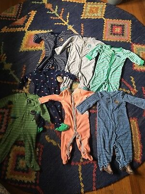 Lot of 7, 9 month Footed Pajamas / Sleepers. Carters. Boys. Dinosaurs, Sharks