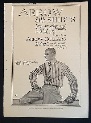 1914 Vintage Men's Clothing Mag Ad ~ Arrow Silk Shirts ~ artist JC Leyendecker