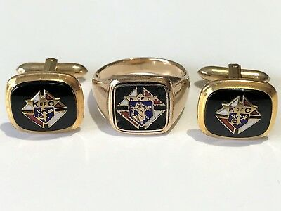 Vintage 14K Gold Knights of Columbus Ring Size 10 & K of C Gold-Filled Cufflinks