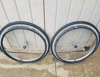 "24"" Wheelchair Wheels And Tyres Pushrims Used Twice"