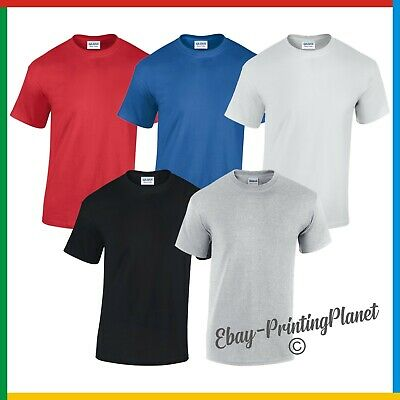 5 PACK x MENS 100% HEAVY COTTON T-SHIRT GILDAN PLAIN: Small - 5XL
