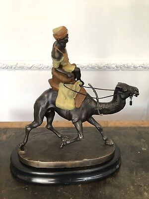 Cold painted bronze figure of a camel with Arab rider after Bergmann Large