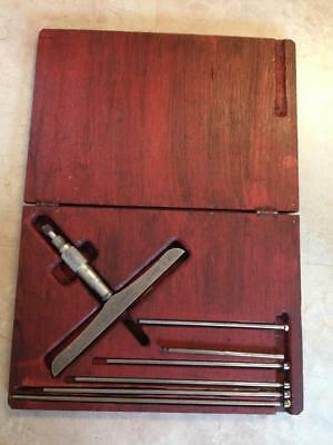 Starrett No. 445 Depth Micrometer With Rods And Wooden Case