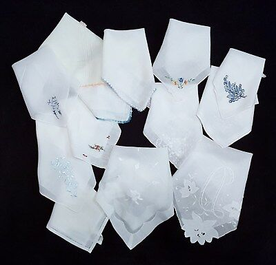 Lot of 13 Vintage White Handkerchiefs Hankies Cotton Linen Hand Rolled Crocheted