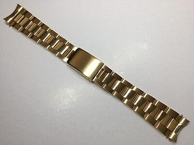 Upgraded 19Mm Solid Heavy Oyster Watch Gold Bracelet For Rolex Tudor Band