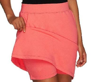 Denim & Co. Essentials Size 1X Coral Pull-On Knit Skort with Pockets