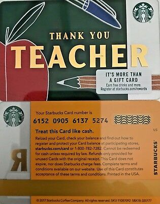 "2018 Starbucks ""thank You Teacher"" Gift Card #6152 Mint No Value Issued  In 2017"