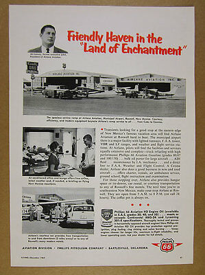 1962 Airlane Aviation at Roswell NM Airport photo Phillips 66 vintage print Ad