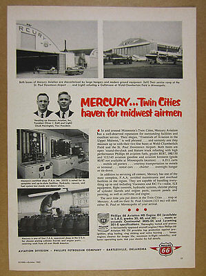 1962 Mercury Aviation twin cities airports photo Phillips 66 vintage print Ad