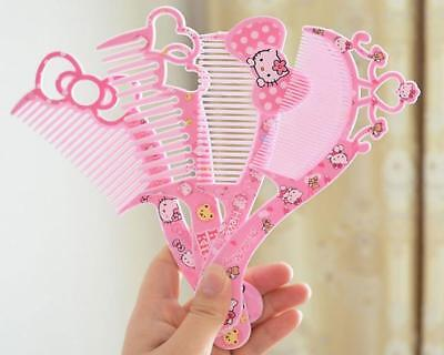 1PC Cute Pink Hello kitty Bow Crown Hair Beauty Comb Hairdressing Gift for Girls