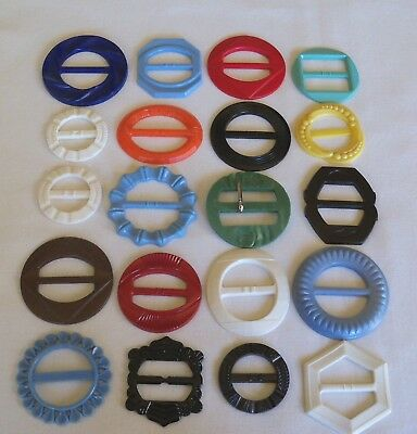 Large Lot Vintage Art Deco Plastic Buckles and Sashes - Multi Colors - Projects