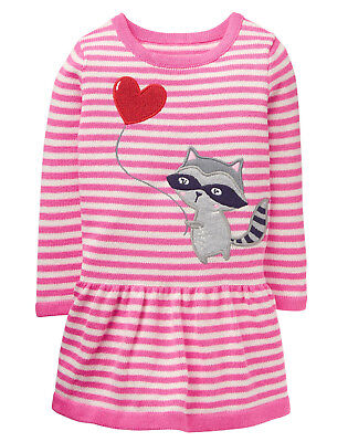NWT Gymboree Sweetheart Shop Raccoon Valentine's Sweater Dress Baby Toddler Girl