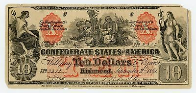 1861 CT-22 $10 The Confederate States of America (CTFT.) Note w/ UPHAM Imprint!