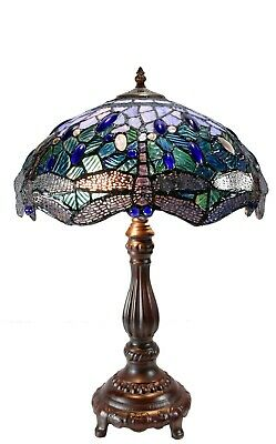 Classical Dragonfly Tiffany Stained Glass Leadlight Table Lamp with Lighted Base