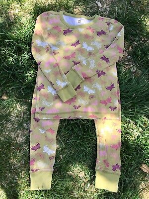 tea collection girls size 6 Yellow Long-Sleeved Pajamas With Pretty Butterflies!