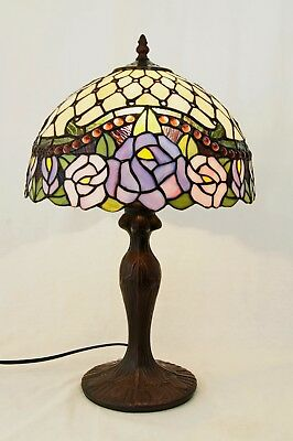 "12"" Jeweled Rose Style Leadlight Stained Glass Tiffany Bedside Table Lamp"