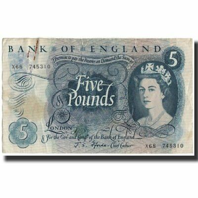 [#591690] Banknote, Great Britain, 5 Pounds, 1966, KM:375b, VF(20-25)