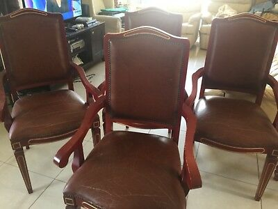 4 antique leather chairs
