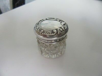 Miniature Rouge Jar With Silver Top