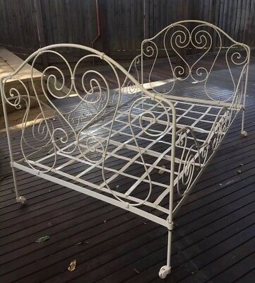 Antique French Daybed, Wrought Iron, Vintage Metal Bed, King Single Bed Width