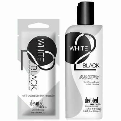 Devoted Creations = White 2 Black Advanced Bronzer = Sunbed Tanning Lotion Cream