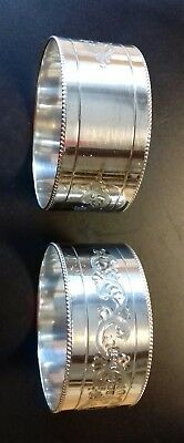 Pair Of Solid Sterling Silver Napkin Ring Holders