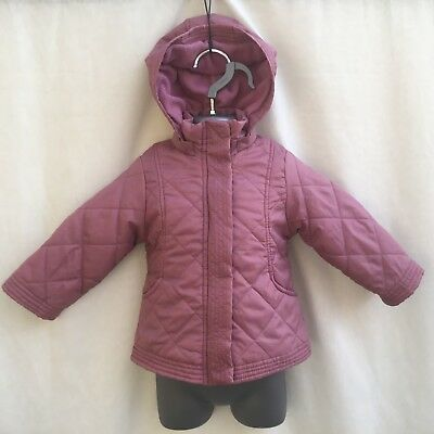 Baby Girls Dusky Pink Quilted Padded Hooded Fleece Lined Coat - Age 6-9 Months
