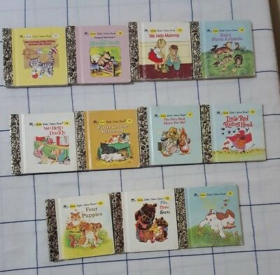 Vintage Lot of 11 Little Little Golden Books Miniature Minis