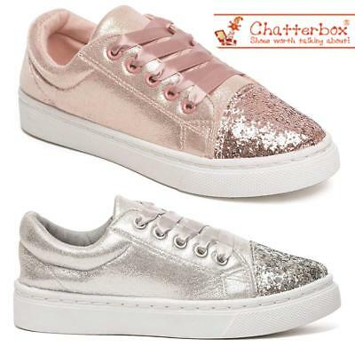 Girls Glitter Canvas Shoes Star Pumps Skate Style Plimsolls Trainers Shoes Size