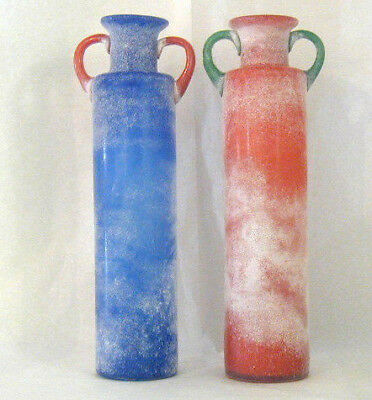 Vintage Hand Made Romanian  Fusion Glass Vases Red or Blue