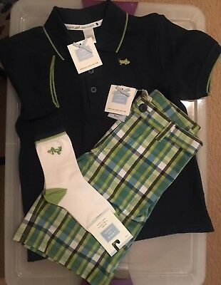 Janie & Jack Vintage Backyard Explorer Blue Polo Shirt Plaid Shorts Socks NEW