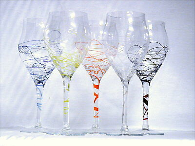 Vintage Romanian  Wine Goblets   Romanian Hand Made Fusion Glass
