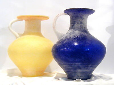 Vintage   Romanian Handmade Mouthblown   Fusion Glass Jug   Blue or Yellow