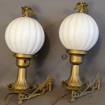 Antique PAIR of Brass EAGLE WALL SCONCES with MILK GLASS GLOBES