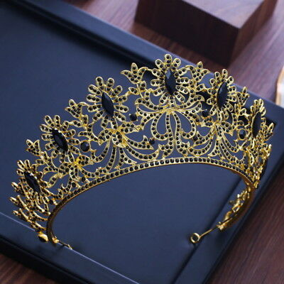 7.5cm High Black Crystal Gold Tiara Crown Wedding Bridal Party Pageant Prom