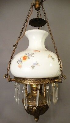 ANTIQUE Victorian Hanging Lamp HAND PAINTED MILK GLASS GLOBE Crystals