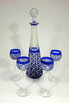 Set Of Four Cordials Glasses + Decanter Crystal Saint Louis Pattern Riesling