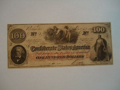 T-41 $100 dollar Confederate currency.  Scarce- No Stamps on back. C.S. W/Mk.